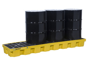 Justrite EcoPolyBlend In-Line Spill Control Pallet 4 Drum with Drain - Yellow