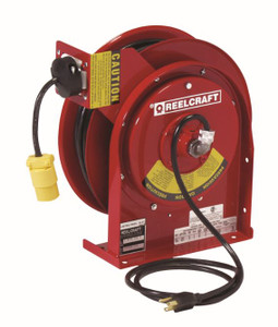 Reelcraft Series 4000 and 5000 Power Cord Reels w/ Receptacles - Single Receptacle - 12 AWG - 45'