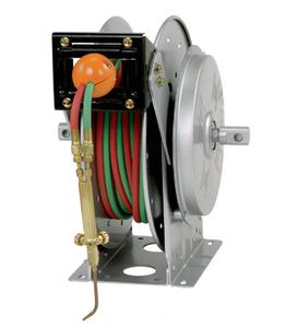 """Hannay N400 Series Oxygen/Acetylene Spring Rewind Gas Welding Reels - Reel with grade """"T"""" twin hose - 1/4"""" x 50'"""