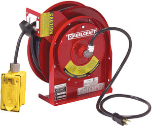 Reelcraft Series L4000 Power Cord Reels w/ Receptacles - Duplex Outlet Box - 12 AWG - 45'