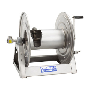 Coxreels 1125 Series Unpolished Stainless Steel Hand Crank Hose Reels - Reel Only - 1/2 in. x 100 ft.