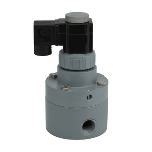 Plast-O-Matic 3 in. Series PS Pilot Operated PVC Solenoid Valve w/ Viton Seal