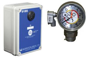 Morrison Bros. 918 Series 2 in. Female NPT Clock Gauge & Alarm w/ Drop Tube Float - Meters & Centimeters