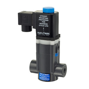 Plast-O-Matic 1/2 in. EASYMT Series Normally-Closed PTFE Bellows Seal Solenoid Valves