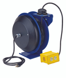 """Coxreels PC Series Power Cord Reel - 12 AWG - 50 ft. - Quad  """"4 Plug Industrial"""" Receptacle"""