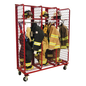 Red Rack Mobile 3-Section Single-Sided Turnout Gear Locker - 24 in. Compartments