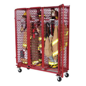 Red Rack Mobile 3-Section Single-Sided Turnout Gear Locker w/ Security Package - 20 in. Compartments