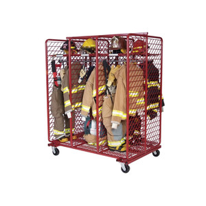Red Rack Mobile 6-Section Double-Sided Turnout Gear Locker - 20 in. Compartments