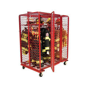 Red Rack Mobile 6-Section Double-Sided Turnout Gear Locker w/ Security Package - 20 in. Compartments