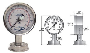 Dixon Bradford 3 1/2 in. Dial Bottom Mount Sanitary Gauges w/ 1 1/2 in. Bottom Mount - 0-160 PSI
