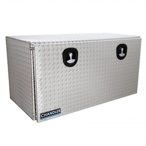 Chandler Equipment Aluminum Tread Plate Underbody Toolbox w/ Drop Down Door w/ Double Latch - 48x24x24