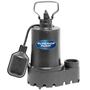 Decko 92331 1/3 HP Cast Iron Sump Pump with Tethered Float Switch - 46 GPM