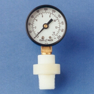 Plast-O-Matic Series GGME 1/4 in. x 1/2 in. NPT Miniature Buna-N Gauge Guard with 2 1/2 in. Face SS Pressure Gauge - 0-200 PSI