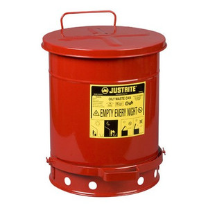Justrite 6 Gal Oily Waste Can w/ Foot Operated Cover (Red)