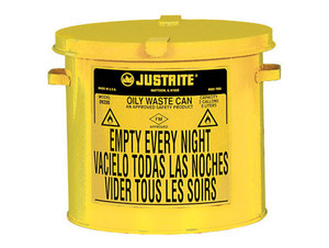 Justrite 09200Y 2 Gallon Countertop Oily Waste Can w/ Hand Operated Cover (Yellow)