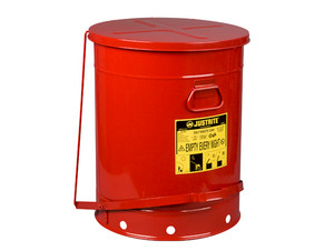 Justrite SoundGard 10 Gal Oily Waste Cans (Red)