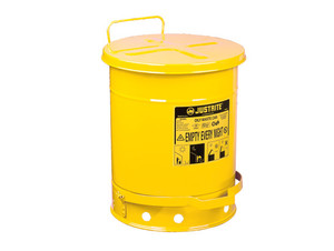 Justrite 09301 10 Gallaon Oily Waste Can w/ Foot Operated Cover (Yellow)