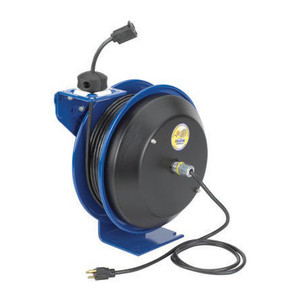 Coxreels EZ-PC Series Power Cord Reel w/ Single Receptacle - 100 ft. - 16 AWG
