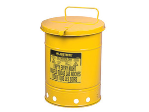 Justrite 09311 10 Gallon Oily Waste Can w/ Hand Operated Cover (Yellow)