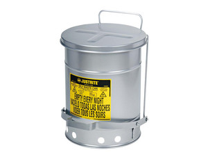 Justrite SoundGard 10 Gal Oily Waste Cans (Silver)