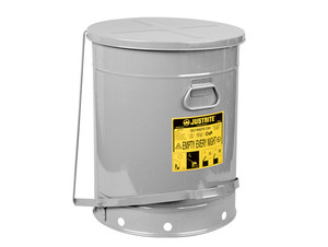Justrite SoundGard 21 Gal Oily Waste Cans (Silver)