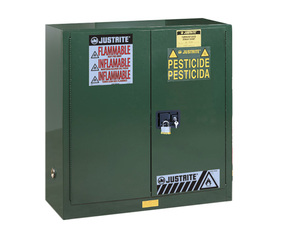 Justrite Sure-Gip Ex Safety 30 Gal Cabinets for Pesticides - 2 Door Self-Close