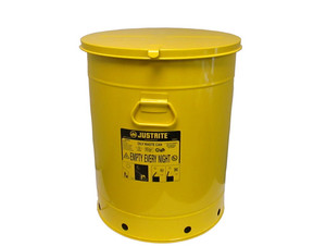 Justrite 21 Gal Oily Waste Can w/ Hand Operated Cover (Yellow)