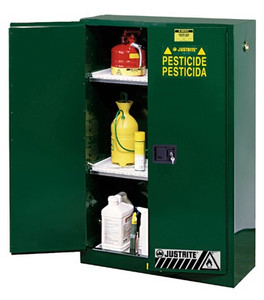 Justrite Sure-Gip Ex Safety 60 Gal Cabinets for Pesticides - 2 Door Self-Close