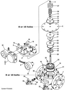 """Smith 4"""" 210 Control Valve Replacement Parts - 5 - Diaphragm: 10 Bolt Viton - 1"""