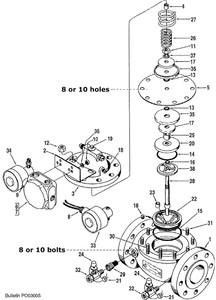 """Smith 4"""" 210 Control Valve Replacement Parts - 5 - Diaphragm: 8 Bolt Viton - 1"""