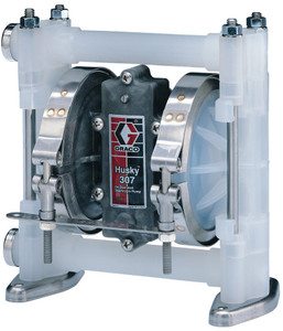 Husky 307 Poly Air 3/8 in. Diaphragm Pump w/ Poly Seats, PTFE Balls & Dia. - 7 GPM (GRD03911)