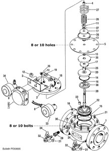 """Smith 4"""" 210 Control Valve Replacement Parts - 31 - Stud, Cover: Current Design – 5/8-11"""" x 2 1/4"""" - 8"""