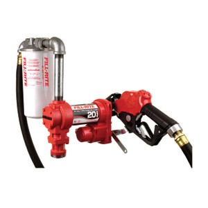 Fill-Rite FR4210HBFQ 12V DC High Flow Pump Kit w/ Hose, Nozzle and Filter - 20 GPM