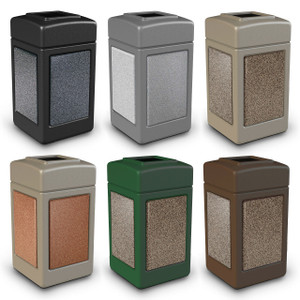 Commercial Zone 42 Gallon StoneTec Panel Square Waste Container
