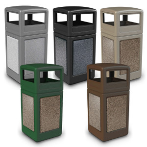 Commercial Zone 42 Gallon StoneTec Panel Square Waste Container w/ Dome Lid
