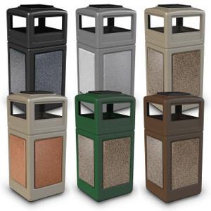 Commercial Zone 42 Gallon StoneTec Panel Square Waste Contaniers w/ Ashtray Dome Lid