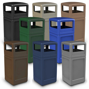 Commercial Zone 42 Gallon Square Waste Containers with Dome Lid