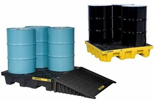 Justrite EcoPolyBlend 4 Drum Square Spill Control Pallets