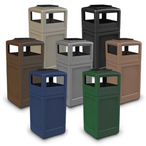 Commercial Zone 42 Gallon Square Waste Containers with Ashtray Dome Lid