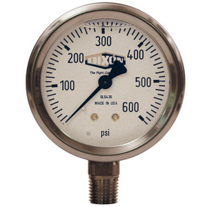 Dixon 2 1/2 in. Face 1/4 in. Lower Mount Liquid Filled Stainless Case Gauges