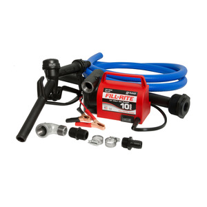 Fill-Rite FR1616 12V DC Portable Fuel Transfer Pump w/ Nozzle & Suction Pipe - 10 GPM