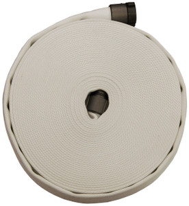 Superior Fire Hose Double Jacket 400# Contractor's Hose w/Brass NH (NST) Couplings - White