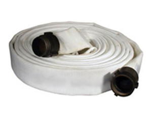 Key Fire Hose 500# Single Jacket 1 in. Fire Hoses w/ Aluminum NH (NST) Rocker Lug Couplings - White