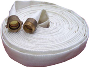 Key Fire Hose 600# Double Jacket Fire Hoses w/ Brass NH (NST) Couplings - White