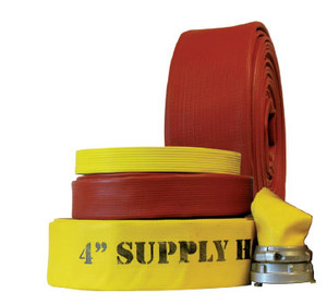 Superior Fire Hose 600# Superior Super Flow 1 3/4 in. Rubber Fire Hose w/ Aluminum NH (NST) Rocker Lug Couplings - UL Listed