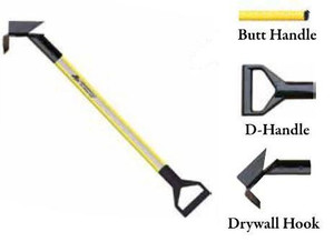 Leatherhead Tools 3 ft. Dog-Bone Drywall Hook w/D-Handle - Yellow