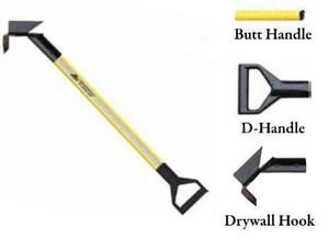 Leatherhead Tools 4 ft. Dog-Bone Drywall Hook w/D-Handle - Yellow