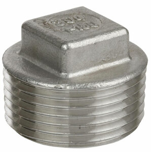 Smith Cooper Cast 150# Stainless Steel 1 1/2 in. Square Head Plug Fitting - Threaded