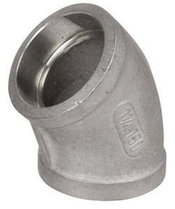 Smith Cooper Cast 150# Stainless Steel 1 1/2 in. 45° Elbow Fitting - Socket Weld