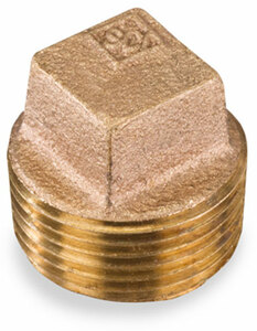 Smith Cooper 125# Bronze Lead-Free 2 in. Square Head Solid Plug Fitting - Threaded